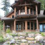 Boulders placed in front of a custom home on Payette Lake